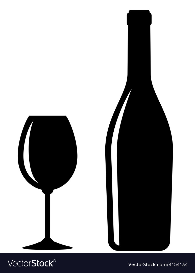 Glossy wine bottle and glass vector
