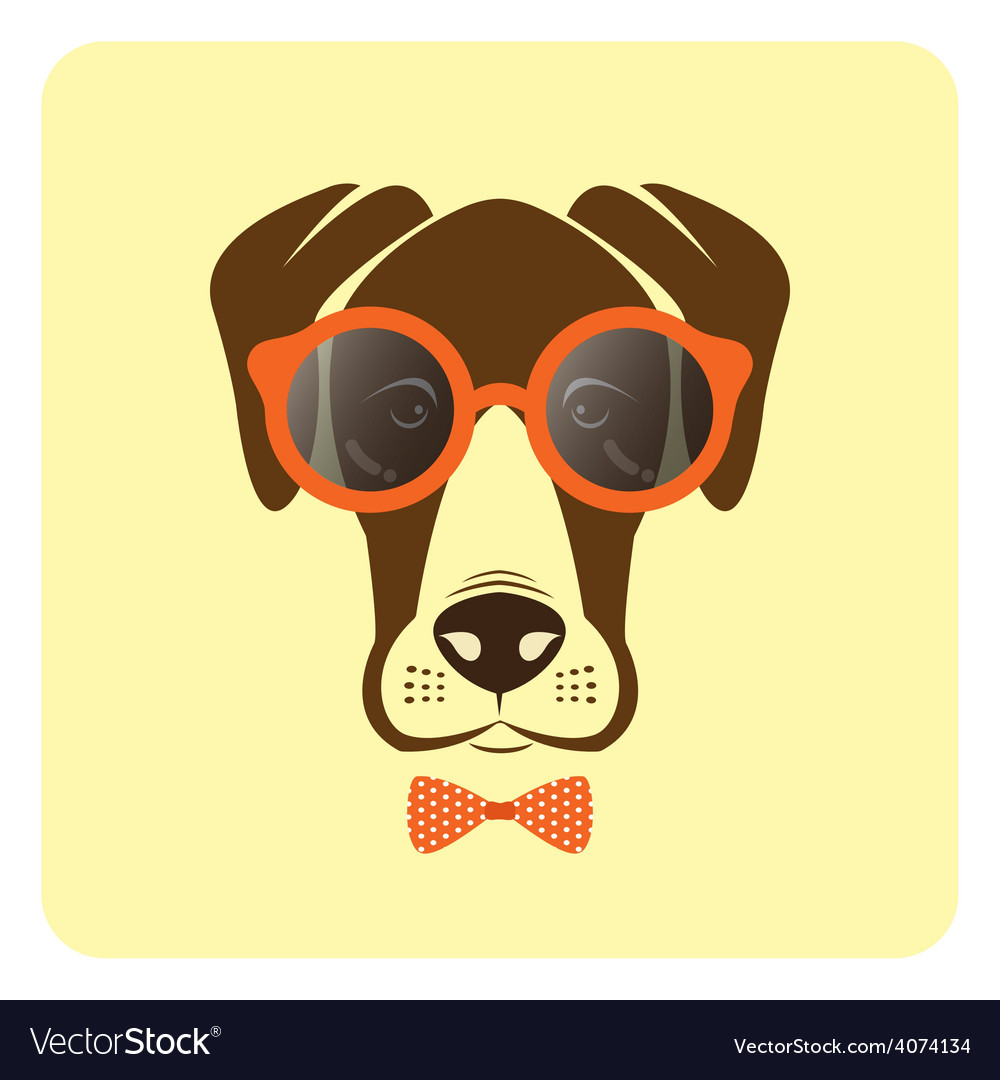 Image of dog wearing glasses vector | Price: 1 Credit (USD $1)