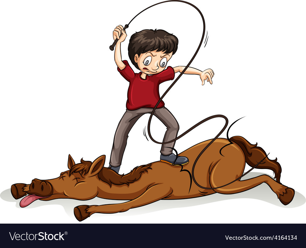 Man beating the horse vector | Price: 1 Credit (USD $1)