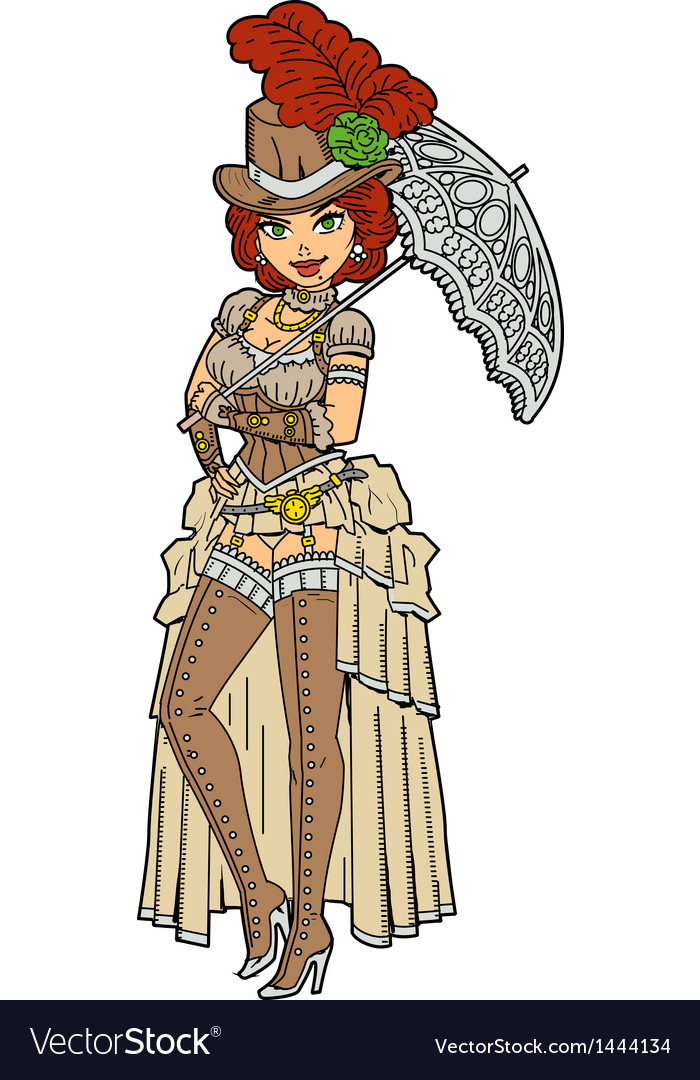Pretty steampunk with parasol vector | Price: 3 Credit (USD $3)