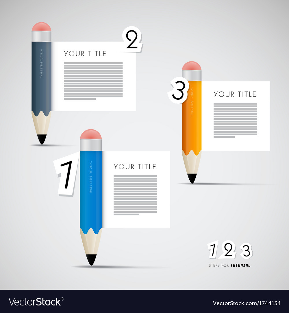 Progress steps for tutorial with pencils vector | Price: 1 Credit (USD $1)