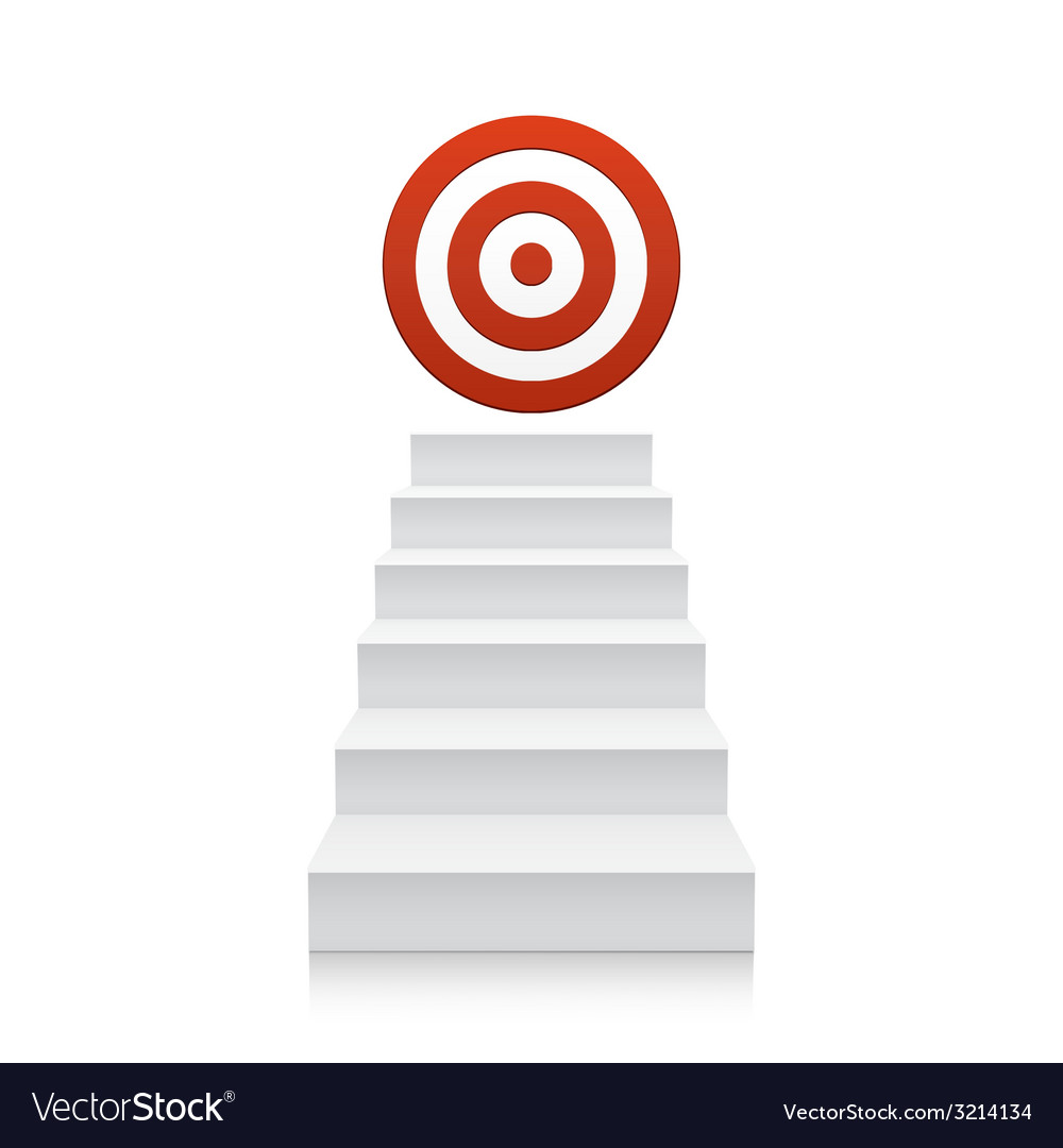 Stairs with red target icon isolated on white vector | Price: 1 Credit (USD $1)