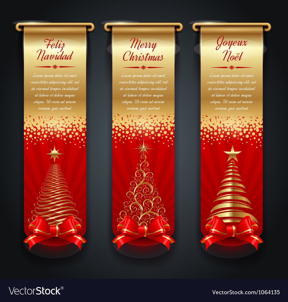 Banners with greetings and christmas trees vector | Price: 1 Credit (USD $1)