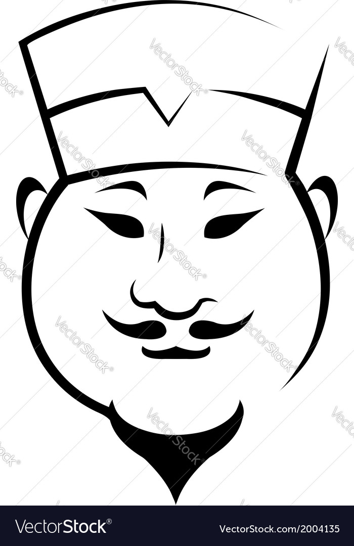Chinaman wearing a hat vector | Price: 1 Credit (USD $1)