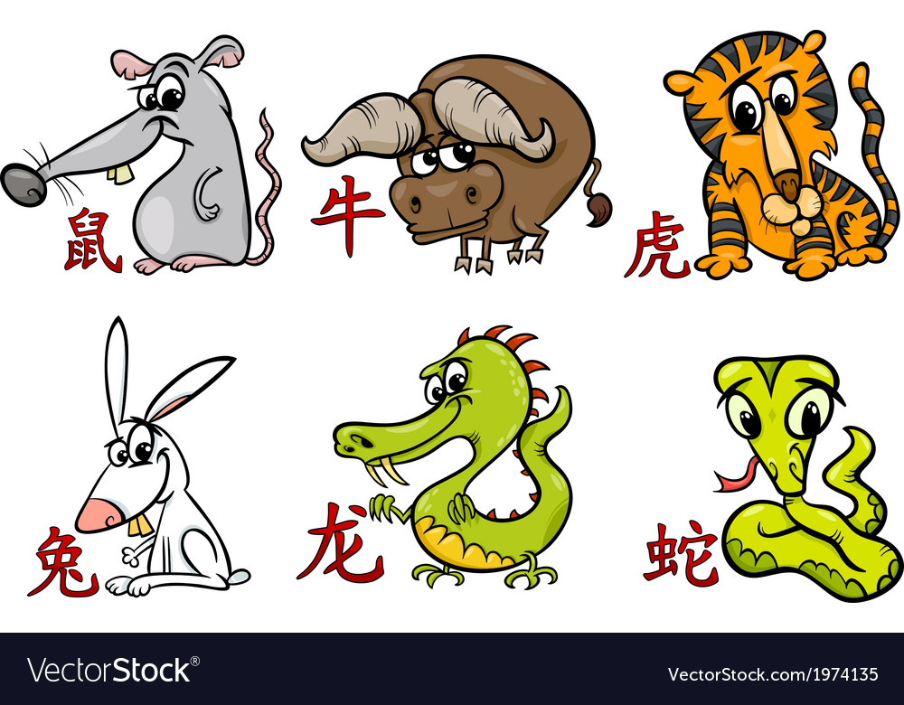Chinese zodiac horoscope signs vector | Price: 1 Credit (USD $1)