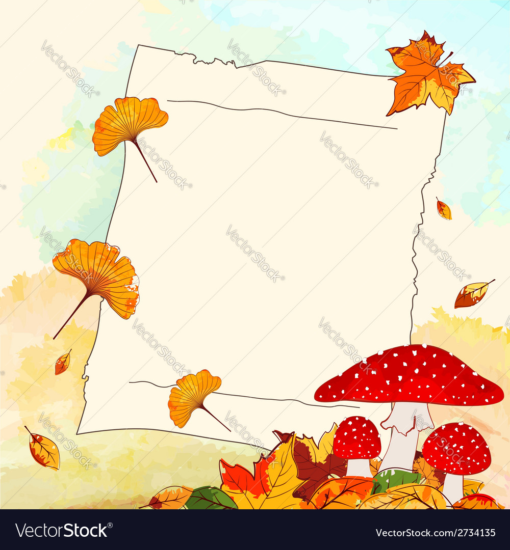 Colorful autumn background with leaf and notepaper vector | Price: 1 Credit (USD $1)