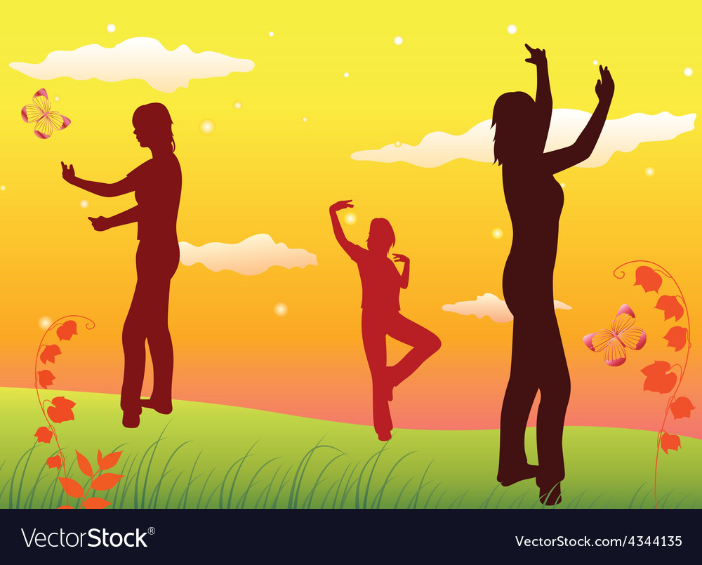 Dancing women silhouettes on lawn yellow sky vector