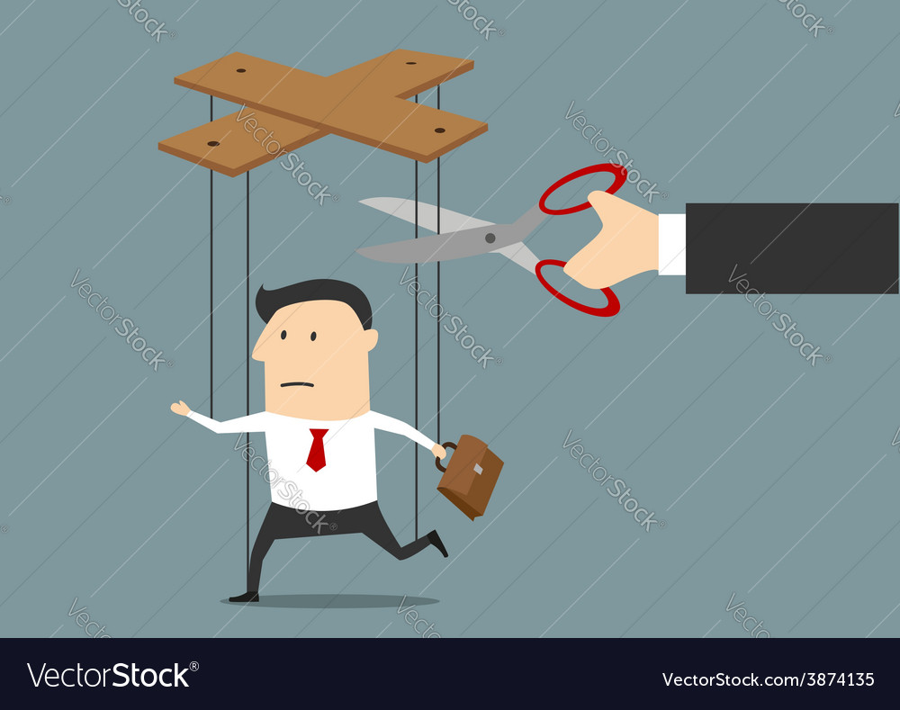 Hand cutting strings of marionette businessman vector | Price: 1 Credit (USD $1)
