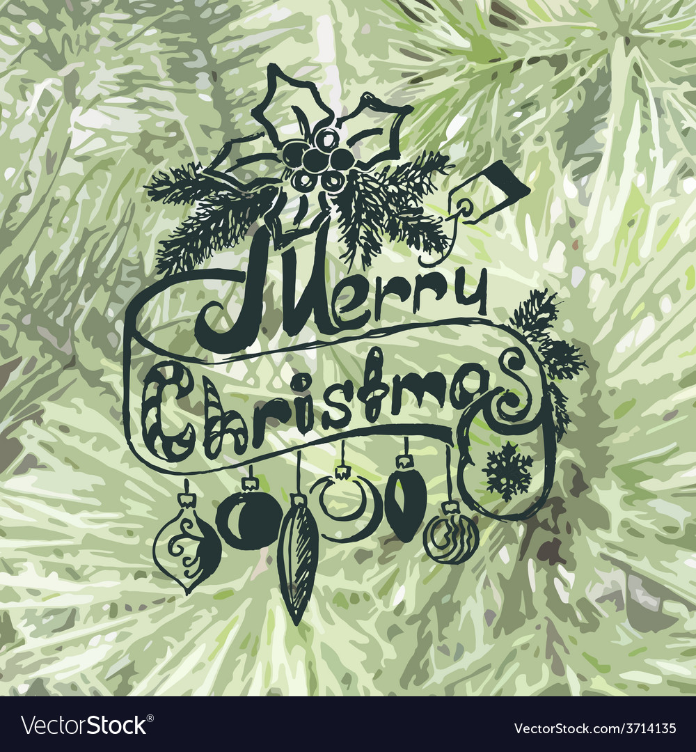 Merry christmas christmas frame on spruce vector | Price: 1 Credit (USD $1)