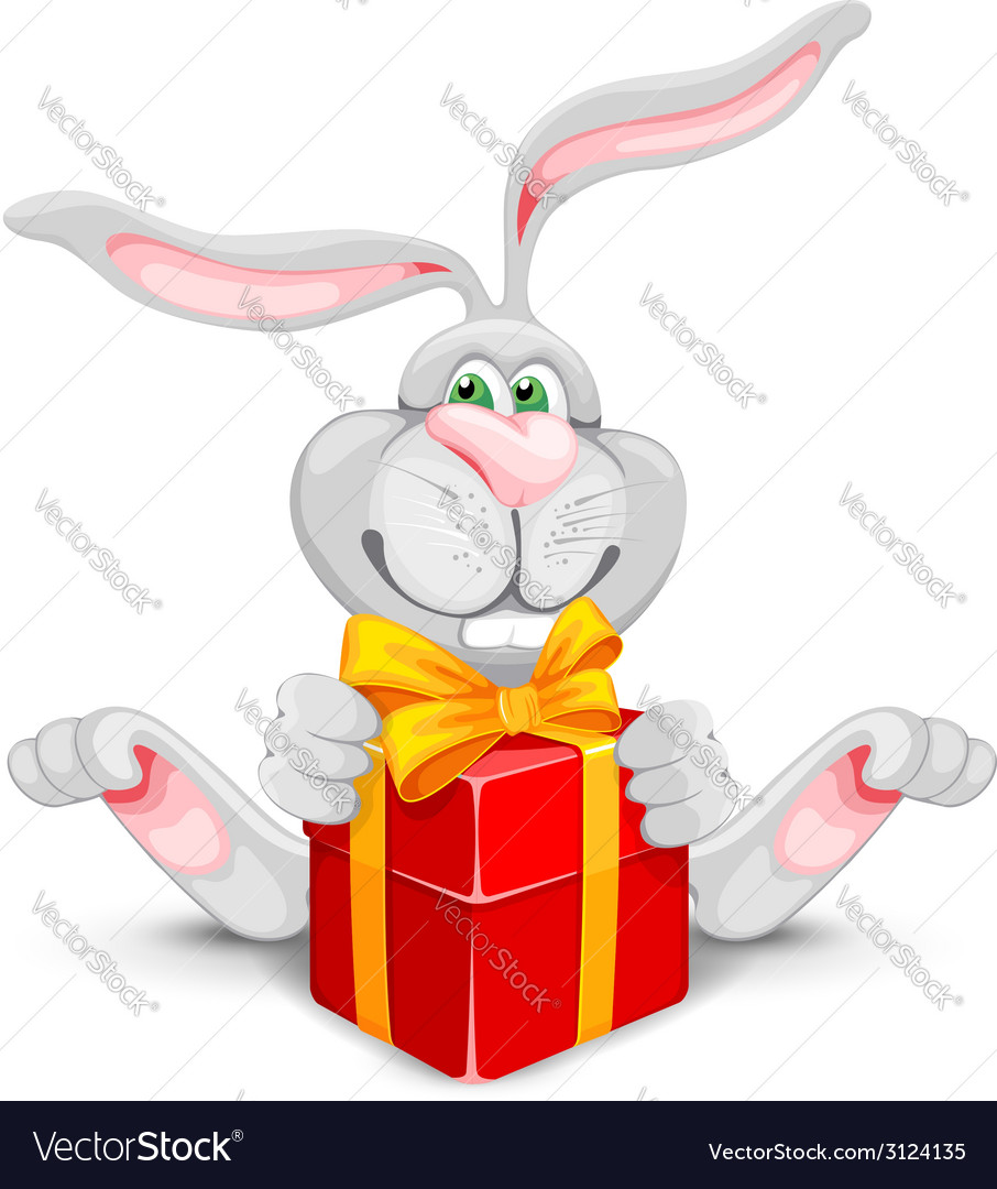 Rabbit and gift vector | Price: 1 Credit (USD $1)