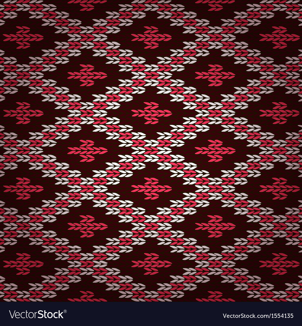 Seamless red knitted pattern vector | Price: 1 Credit (USD $1)