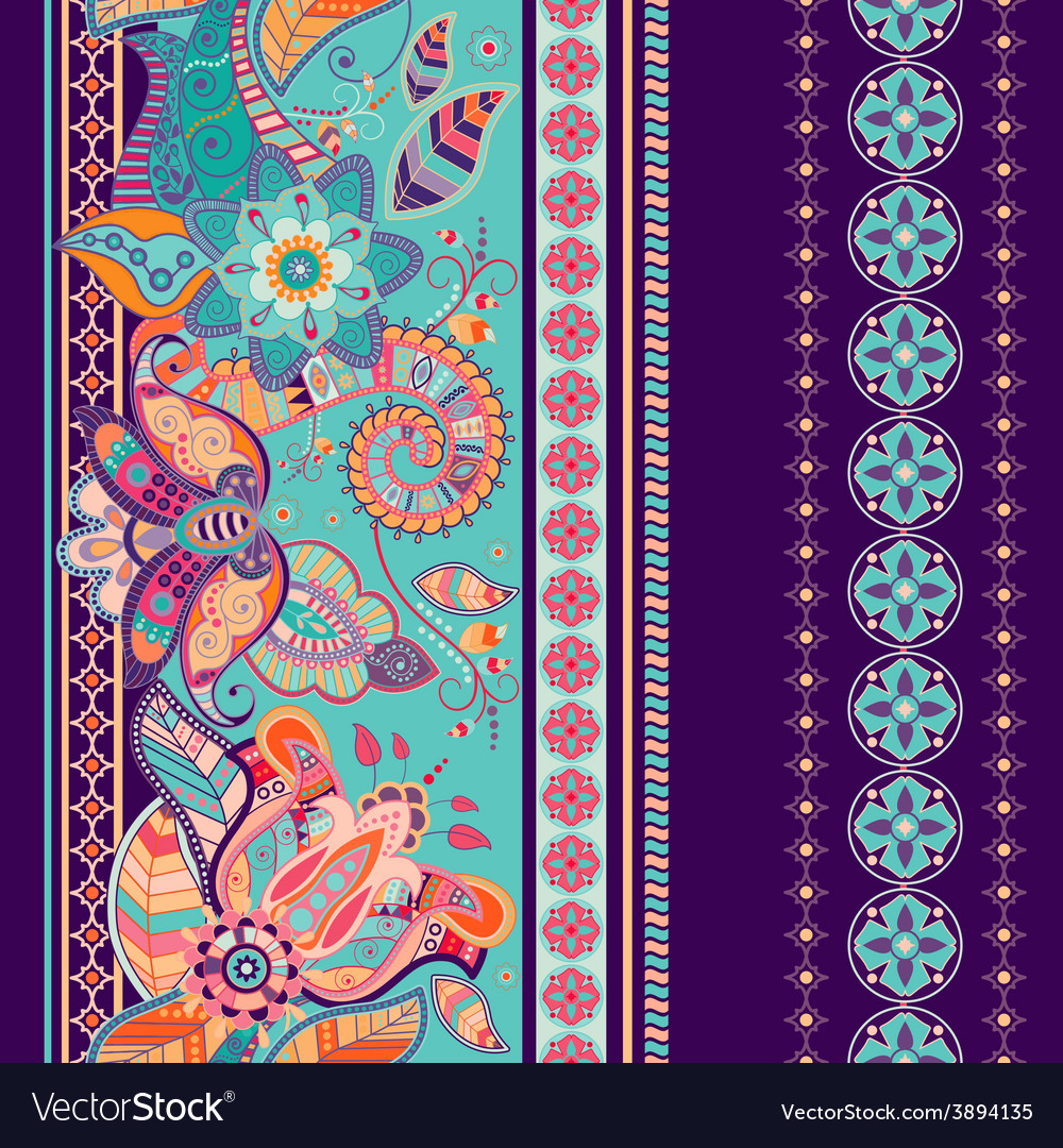 Striped seamless ethnic pattern paisley wallpaper vector | Price: 1 Credit (USD $1)