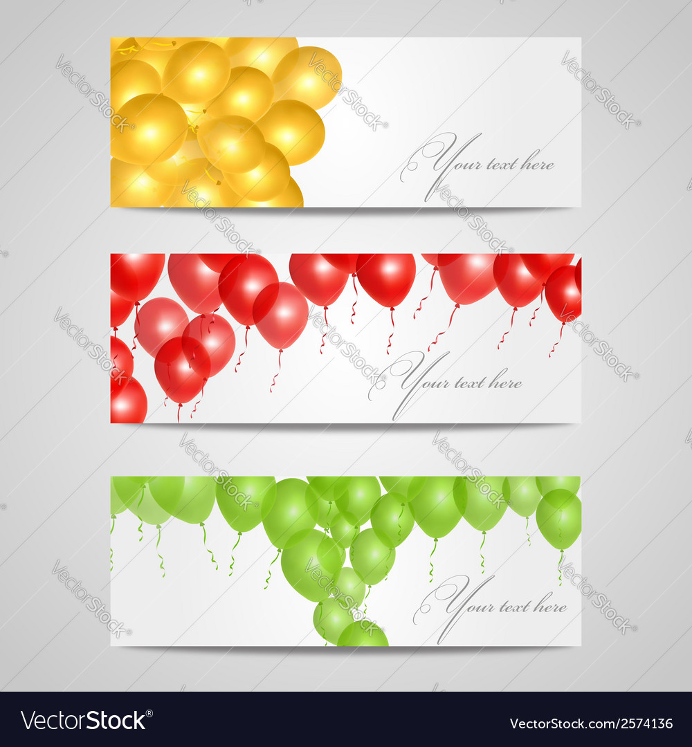 Banners with balloons vector | Price: 1 Credit (USD $1)