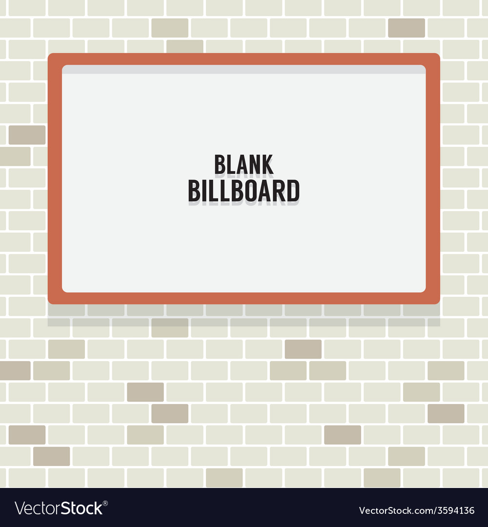 Blank advertising billboard on brick wall vector | Price: 1 Credit (USD $1)