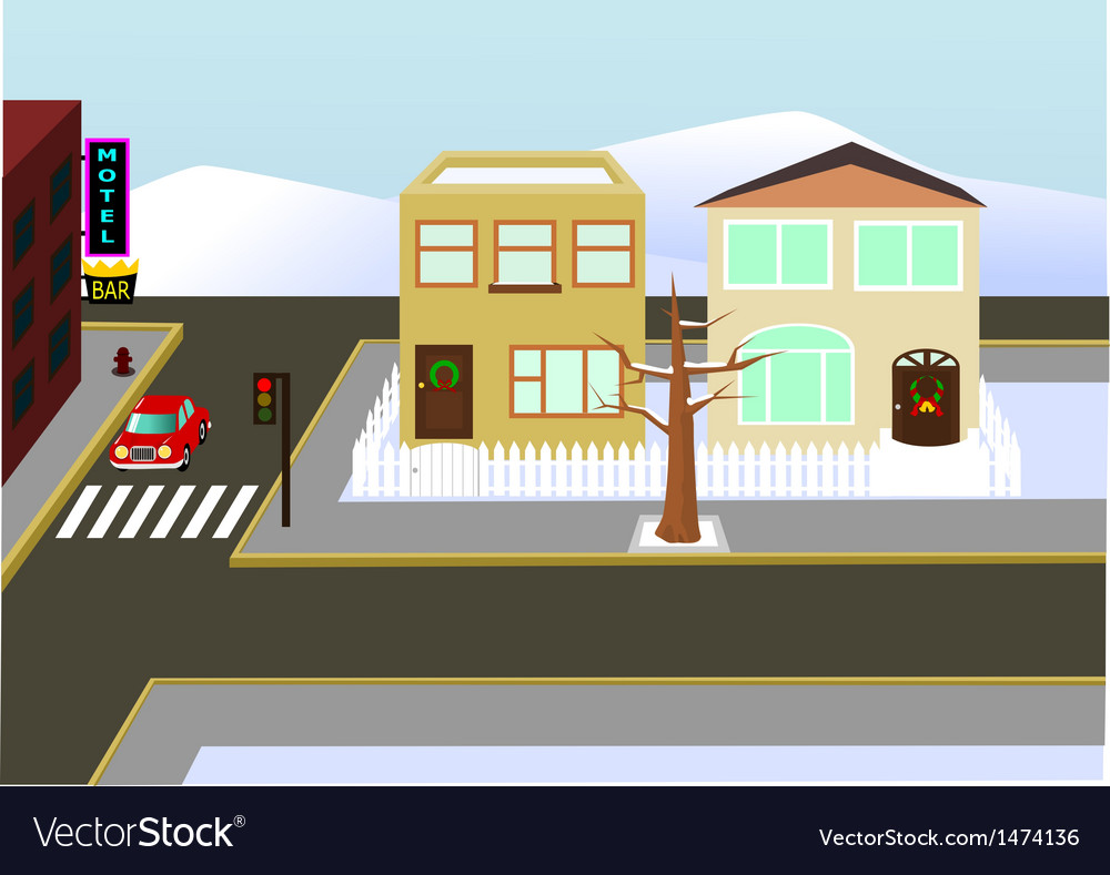 Christams town view vector | Price: 1 Credit (USD $1)