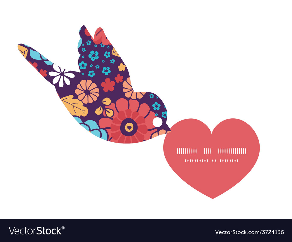 Colorful bouquet flowers birds holding vector | Price: 1 Credit (USD $1)