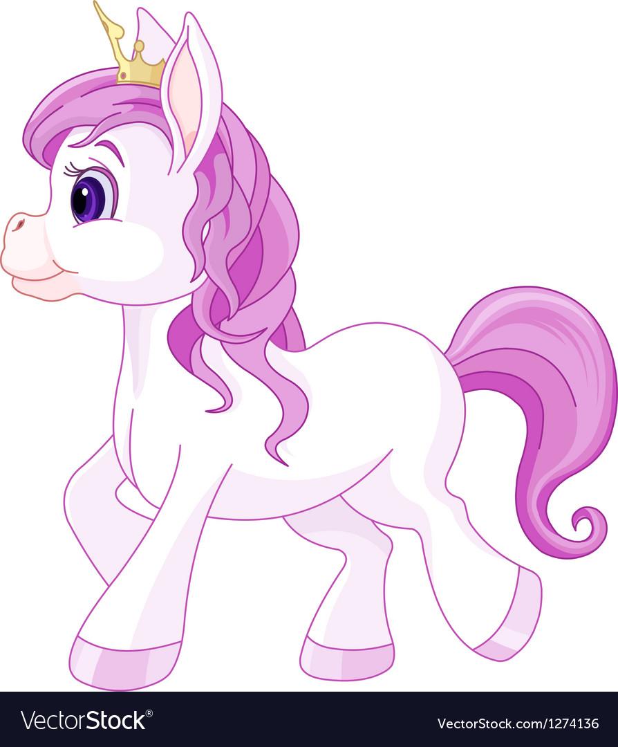 Cute horse princess walking vector | Price: 1 Credit (USD $1)