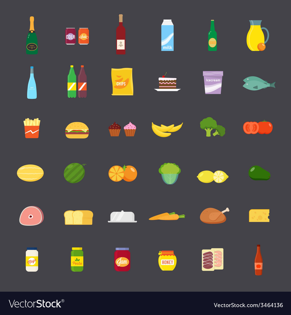Flat style food and beverages icon set vector | Price: 1 Credit (USD $1)