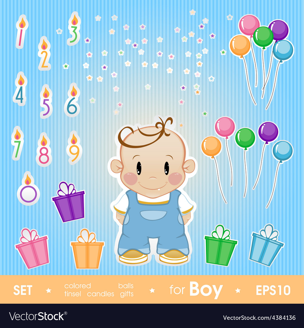 Gala set for boy set for birthday candles gifts vector | Price: 1 Credit (USD $1)