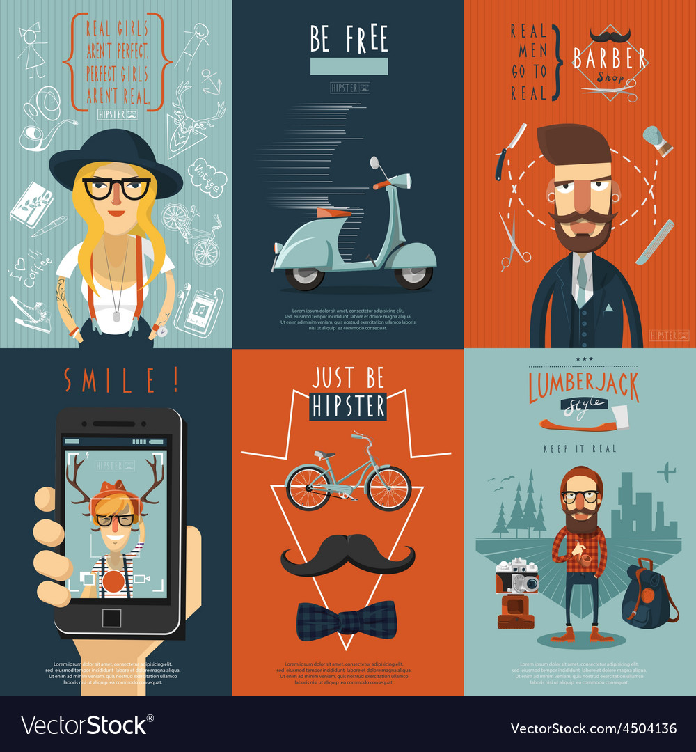 Hipster flat icons composition poster vector   Price: 1 Credit (USD $1)