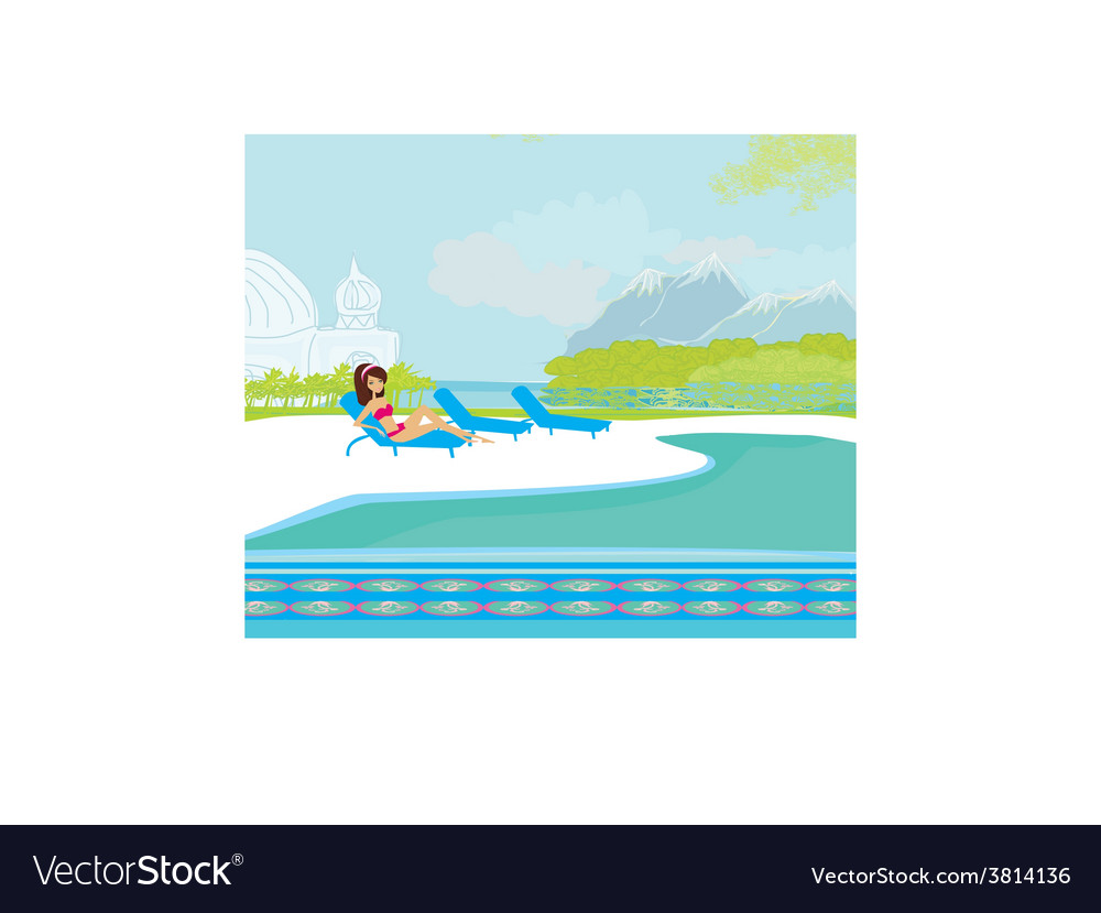 Image of girl and tropical pool vector | Price: 1 Credit (USD $1)