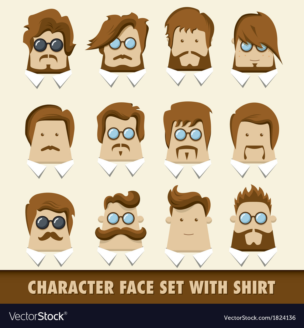 Men character icon set with shirt vector | Price: 1 Credit (USD $1)