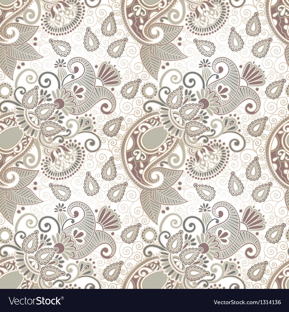 Ornate seamless flower paisley design vector | Price: 1 Credit (USD $1)