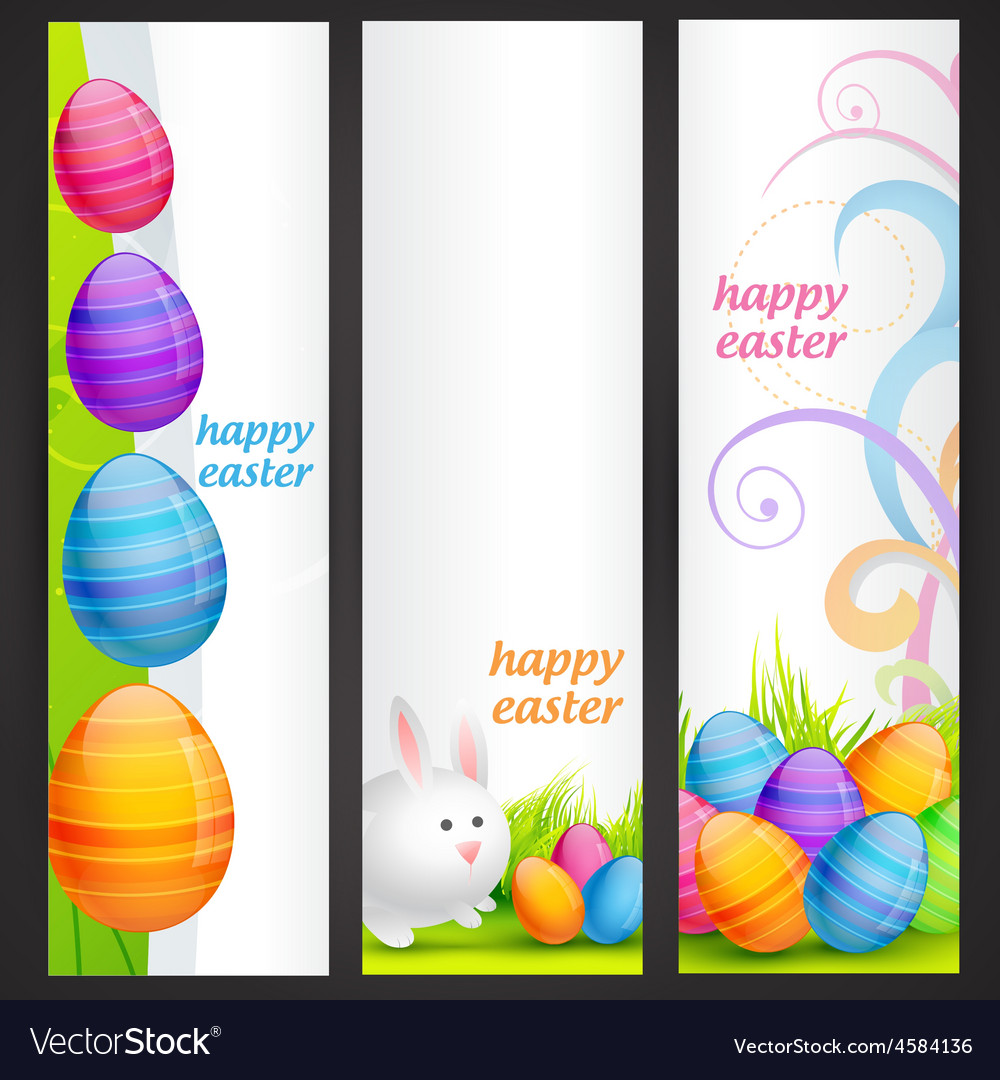 Set of easter banner vector | Price: 1 Credit (USD $1)