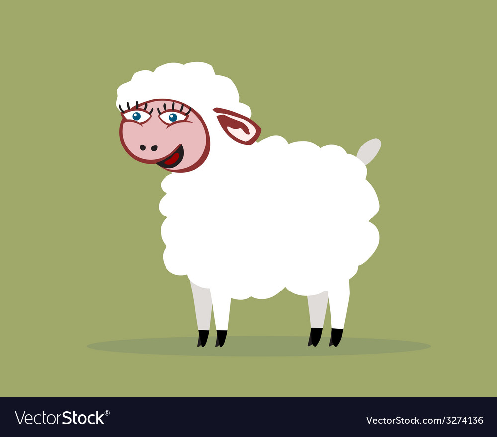 Sheep smiling color vector | Price: 1 Credit (USD $1)