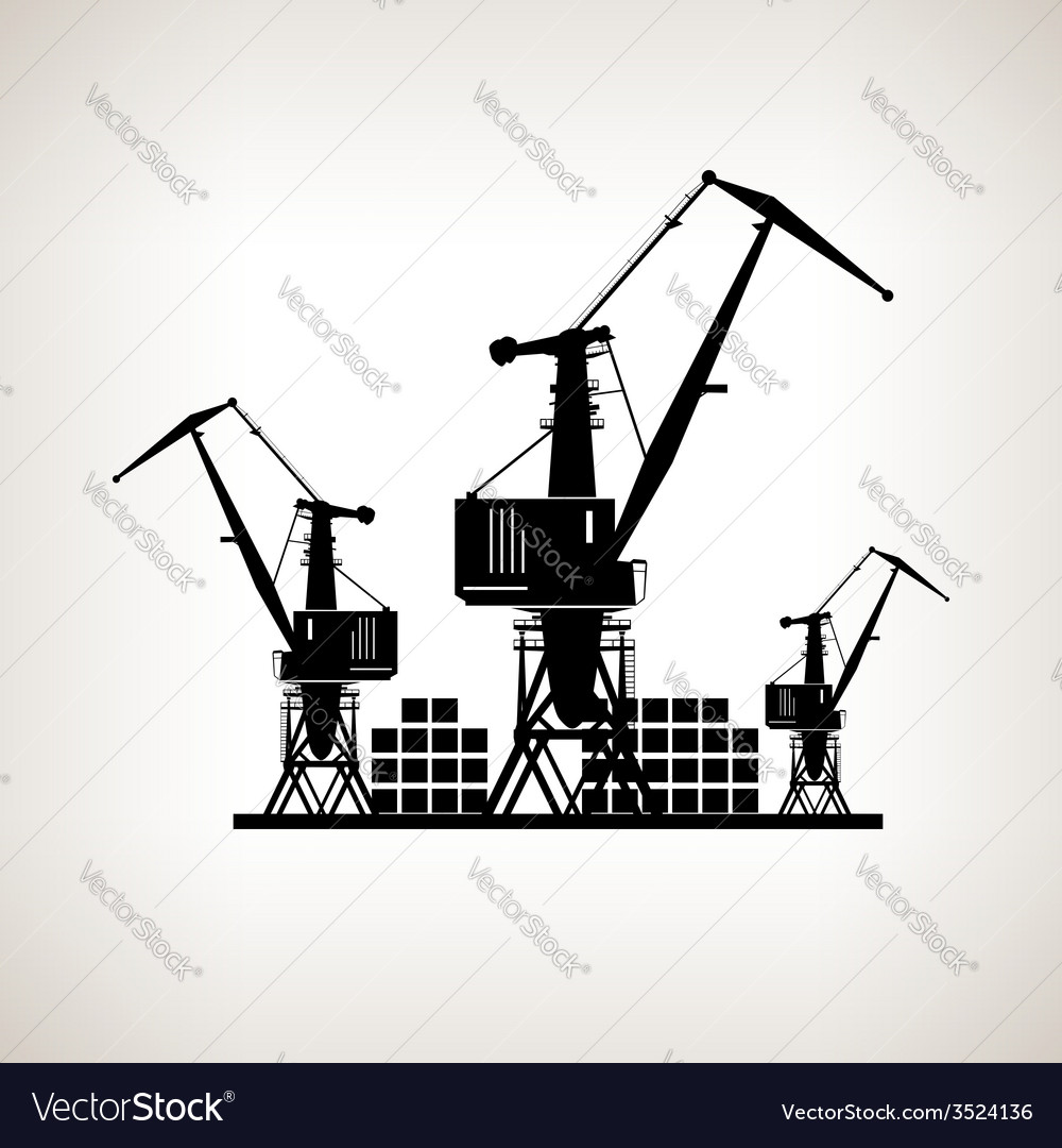 Silhouette cargo cranes and containers vector | Price: 1 Credit (USD $1)