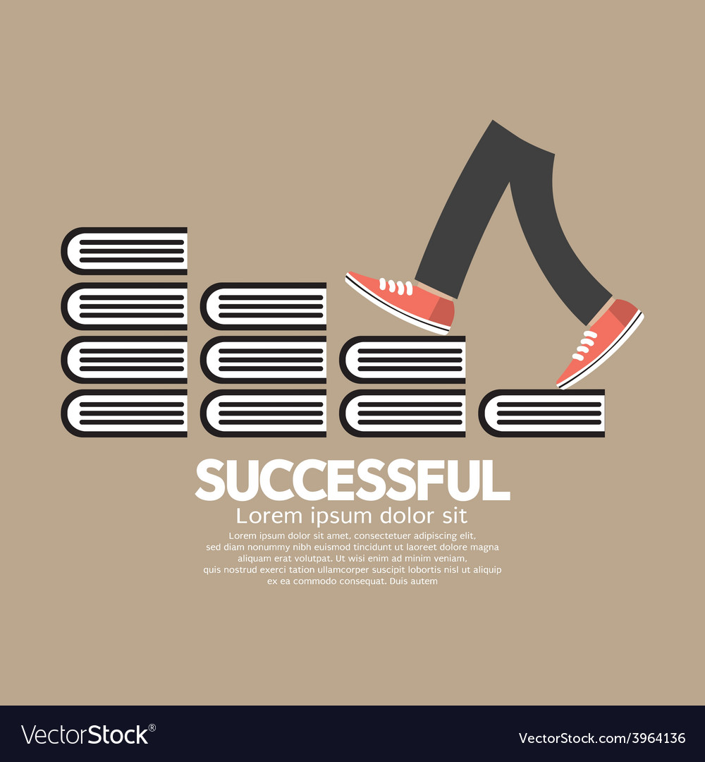Step up walking on books successful concept vector | Price: 1 Credit (USD $1)