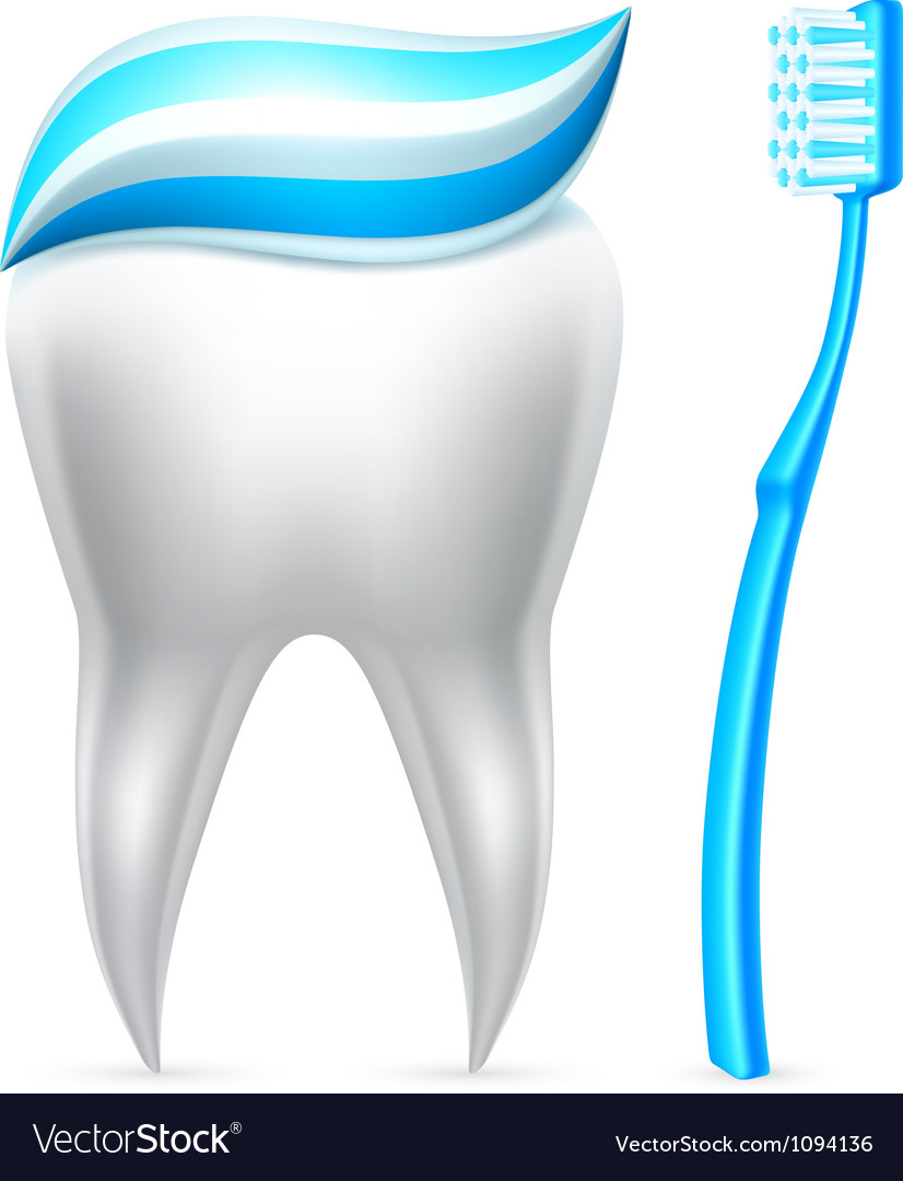 Tooth with toothpaste and toothbrush vector | Price: 3 Credit (USD $3)