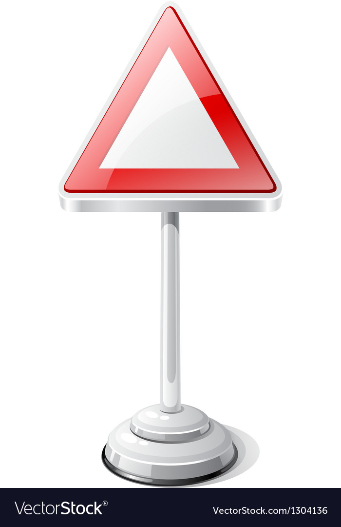 Warning road traffic sign isolated on white vector | Price: 1 Credit (USD $1)