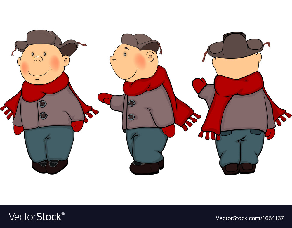 A boys in a winter coat and a cap cartoon vector