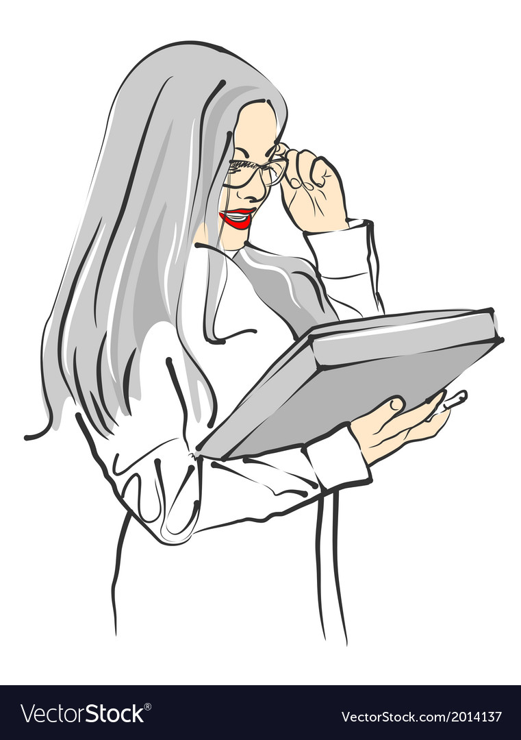 Beautiful businesswoman in glasses with folder vector | Price: 1 Credit (USD $1)