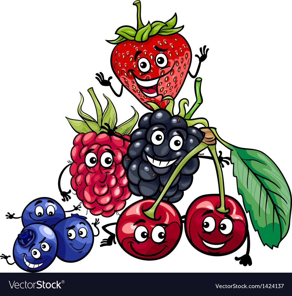 Berry fruits group cartoon vector | Price: 3 Credit (USD $3)
