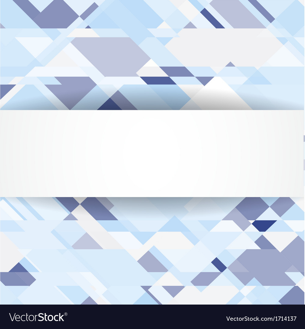 Blue geometric background with white banner vector | Price: 1 Credit (USD $1)