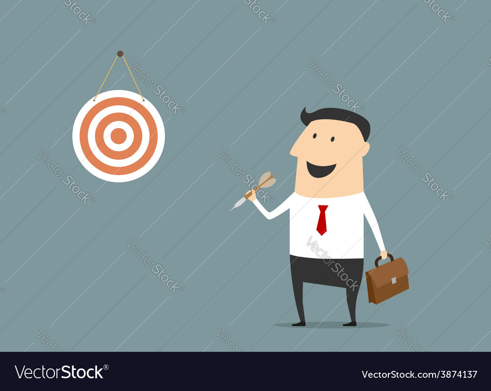Cartoon flat businessman with dart and target vector | Price: 1 Credit (USD $1)