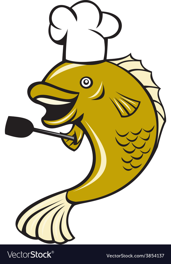 Cook chef largemouth bass fish spatula cartoon vector | Price: 1 Credit (USD $1)