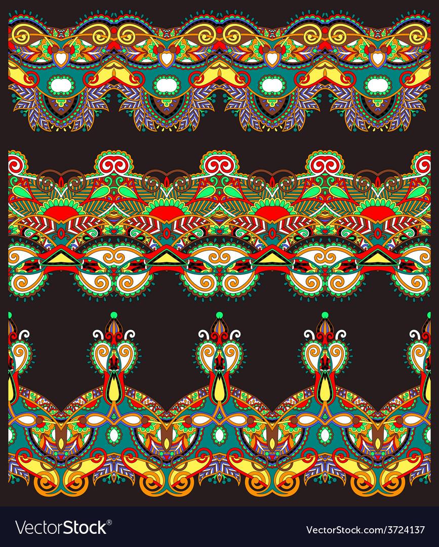 Ethnic floral paisley stripe pattern border set vector | Price: 1 Credit (USD $1)