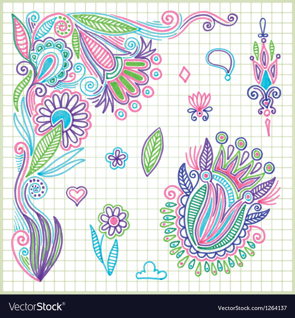 Hand draw doodle flower element vector | Price: 1 Credit (USD $1)
