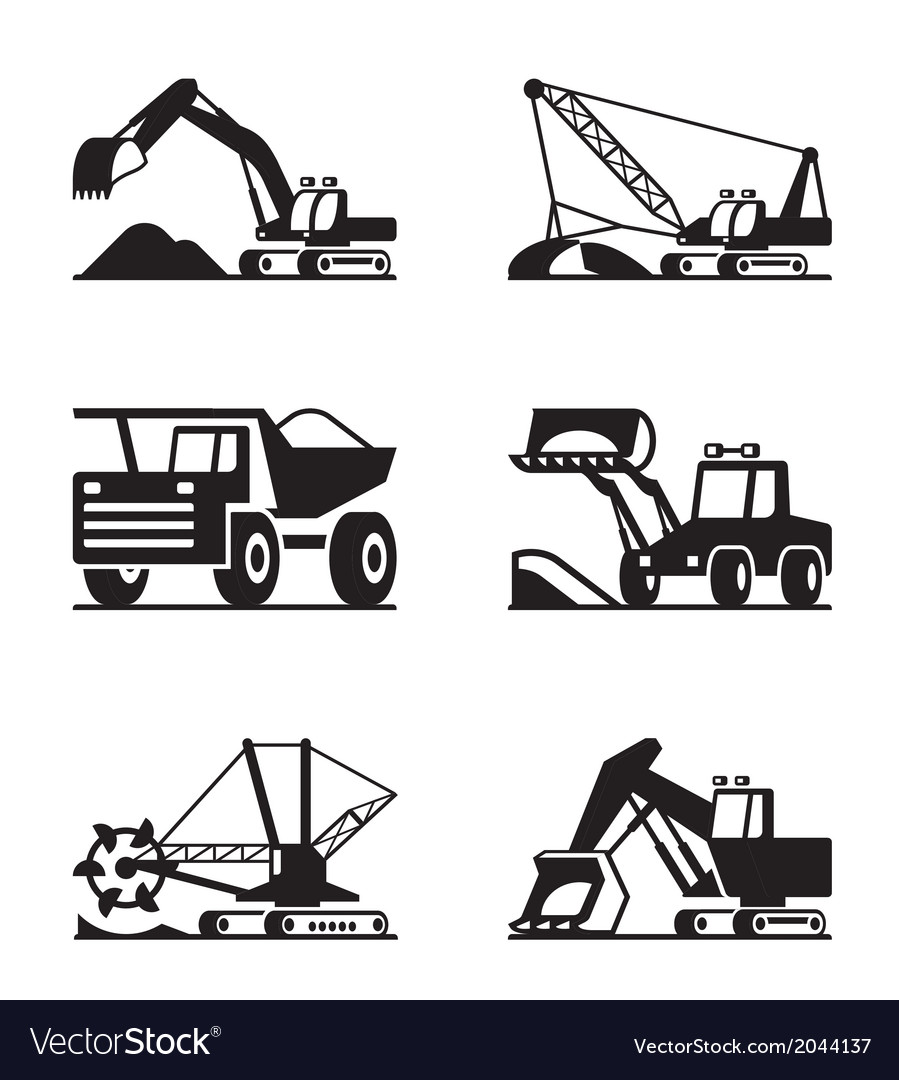Heavy construction and minning equipment vector | Price: 1 Credit (USD $1)