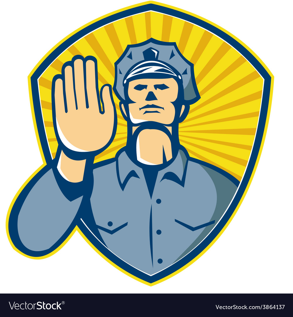 Policeman police officer hand stop shield vector | Price: 1 Credit (USD $1)