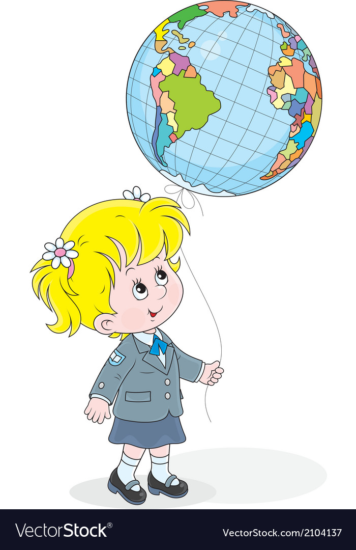 Schoolgirl with a globe - balloon vector | Price: 1 Credit (USD $1)