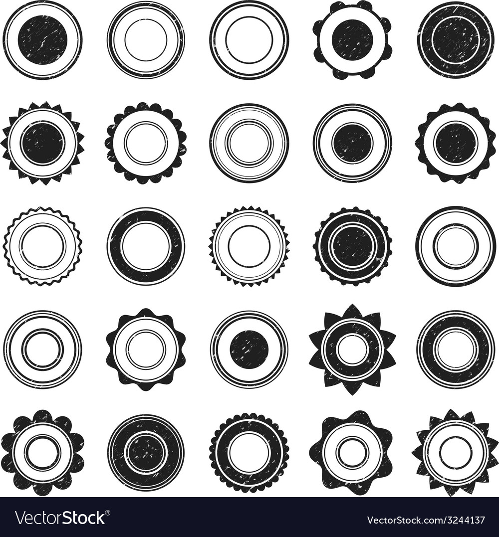 Set of black grunge stamp round shapes vector | Price: 1 Credit (USD $1)