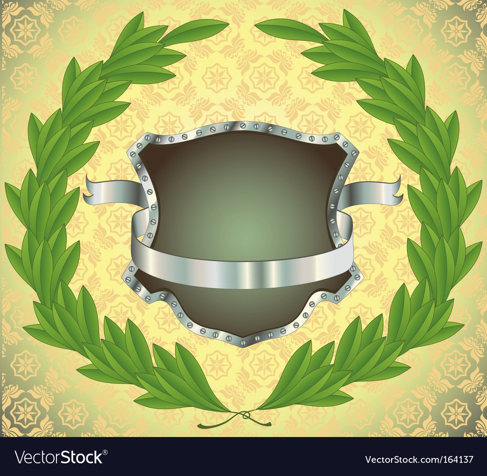Shield with ribbon and wreath vector | Price: 1 Credit (USD $1)