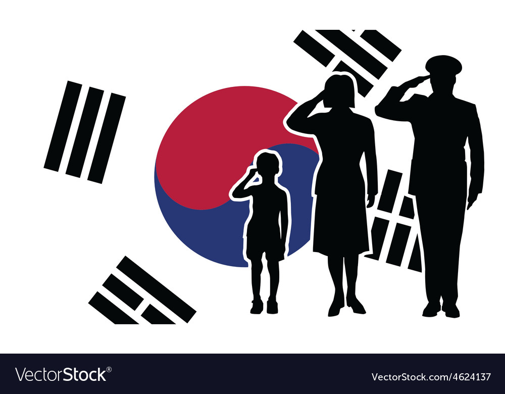 South korea soldier family salute vector | Price: 1 Credit (USD $1)