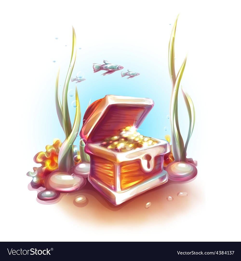 Treasure chest in ocean vector | Price: 3 Credit (USD $3)