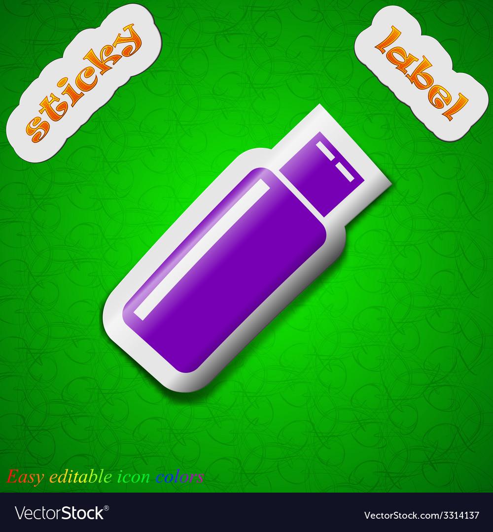 Usb flash drive icon sign symbol chic colored vector   Price: 1 Credit (USD $1)