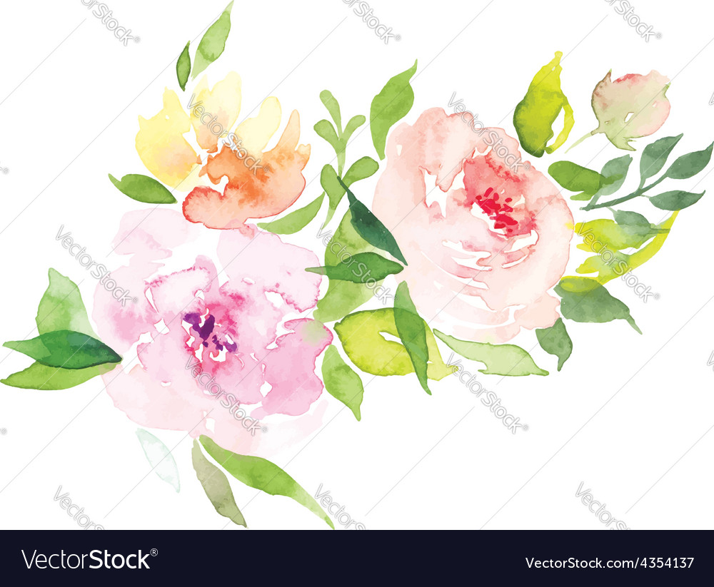 Watercolor greeting card flowers vector | Price: 1 Credit (USD $1)